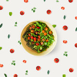 Cherry tomato salad with fresh herbs and butter Royalty Free Stock Photos