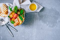 Cherry tomato salad with grilled haloumi cheese, with chard and royalty free stock photos