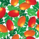 Cherry tomato seamless vector background Royalty Free Stock Photo
