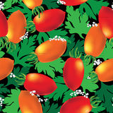 Cherry tomato seamless vector background Stock Photography