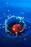 Cherry tomato in water. A small cherry tomato falling in blue water with  interesting splash Royalty Free Stock Photo