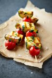 Cherry Tomato, Zucchini and Halloumi Cheese Skewers stock images