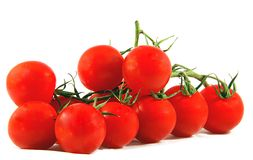 Cherry tomatoes. Red cherry tomatoes isolated on white background Royalty Free Stock Photos