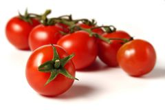 Cherry tomatoes. Ripe cherry-tomatoes on a branch, a single fruit in front, white background royalty free stock photos