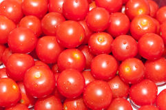 Cherry Tomatoes. Close up of a pile of red cherry tomatoes stock image