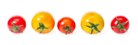 Cherry tomatoes. Isolated on white background Royalty Free Stock Photos