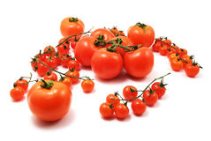 Cherry tomatoes. Isolated on white background royalty free stock photo