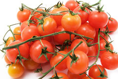 Cherry tomatoes. Isolated on white background stock images
