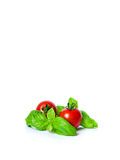 Cherry tomatoes with basil Stock Photo