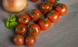 Cherry tomatoes. And basil  close-up shot Stock Photography