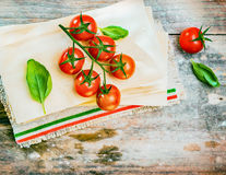 Cherry tomatoes, basil and dried lasagne sheets Stock Photos