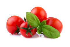 Cherry Tomatoes with Basil leaf isolated on white Stock Images