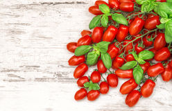 Cherry tomatoes and basil leaves. Food Stock Image