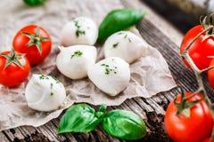 Cherry tomatoes, basil leaves, mozzarella cheese Stock Photos