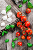 Cherry tomatoes, basil leaves, mozzarella cheese Royalty Free Stock Photo