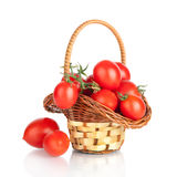 Cherry tomatoes in a basket Stock Photos