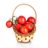 Cherry tomatoes in a basket, isolated on white Royalty Free Stock Photo