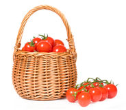 Cherry tomatoes in a basket Royalty Free Stock Photography