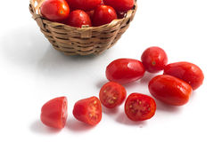 Cherry Tomatoes into a basket Royalty Free Stock Photos