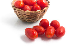 Cherry Tomatoes into a basket Stock Image