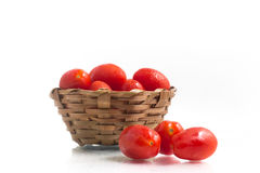 Cherry Tomatoes into a basket Royalty Free Stock Photo