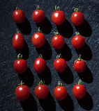 Cherry tomatoes on black background arranged in a linear way. Stock Photo