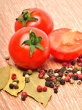 Cherry tomatoes with black pepper and bayleaf Stock Images