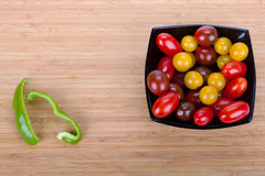 Cherry tomatoes in black plate Royalty Free Stock Images
