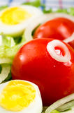 Cherry tomatoes and boiled eggs in a salad with lettuce leaves Royalty Free Stock Photo