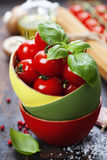 Cherry tomatoes in a bowl with basil Royalty Free Stock Images