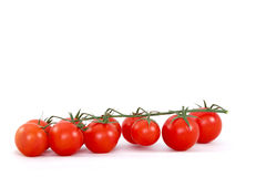 Cherry Tomatoes on Branch. Fresh ripe cherry tomatoes on branch against white background royalty free stock photos