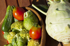 Cherry tomatoes, brussels sprouts, cucumber and cabbage broccoli Royalty Free Stock Photography