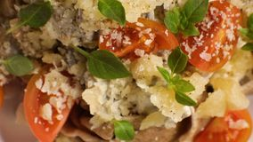 Cherry tomatoes, cheese and basil on pasta close-up. Video. Horizontal stock footage