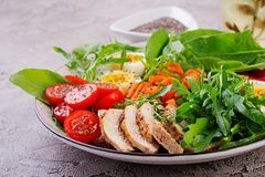 Cherry tomatoes, chicken breast, eggs, carrot, salad with arugula stock photography