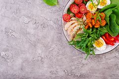 Cherry tomatoes, chicken breast, eggs, carrot, salad with arugula. Plate with a keto diet food. Cherry tomatoes, chicken breast, eggs, carrot, salad with arugula royalty free stock photos