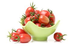 Cherry tomatoes. Close-up. Studio photography on a white background. Six varieties of tomatoes cherry on a white background Royalty Free Stock Photo