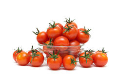 Cherry tomatoes close-up on a white background Royalty Free Stock Image