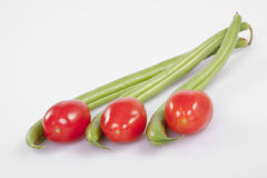 Cherry tomatoes and French beans Royalty Free Stock Images