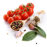 Cherry tomatoes garlic and bay leaf Royalty Free Stock Photography