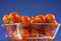 Cherry tomatoes in a glass bowl Royalty Free Stock Image