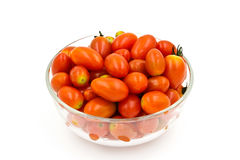 Cherry tomatoes in a glass bowl Stock Photos