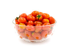 Cherry tomatoes in a glass bowl Royalty Free Stock Images