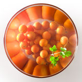 Cherry tomatoes in a glass salad bowl. Over white background royalty free stock images