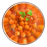 Cherry tomatoes in a glass salad bowl. Over white background stock photos