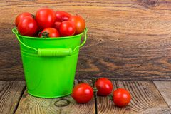 Cherry tomatoes harvest in green bucket on wooden table royalty free stock photos