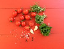 Cherry tomatoes with herbs and spices Stock Image