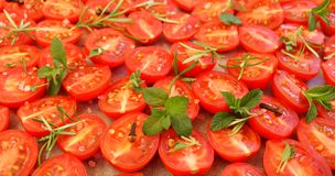 Cherry tomatoes with herbs and spices Royalty Free Stock Photos