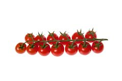 Cherry tomatoes isolated. Isolated cherry tomatoes, food, fruits Stock Images