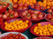Fruit at Outdoor Market. Cherry tomatoes, kumquats, tomatoes, and tangerines at an outdoor market in Seoul, South Korea Royalty Free Stock Photography
