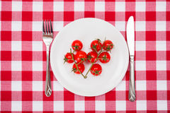 Cherry tomatoes launch on white plate Royalty Free Stock Photos